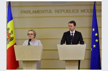 The heads of the delegations of the Committee on Foreign Affairs and Committee on Budgets, European MPs Laima Liucija Andrikiene and Siegfried Muresan held a news conference'