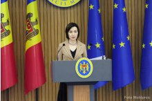Prime Minister Maia Sandu holds a news briefing  '