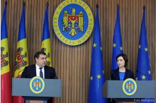 Prime Minister Maia Sandu and the head of the International Monetary Fund's mission, Ruben Atoyan, hold a news briefing on the results of talks with IMF  '