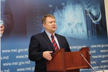 Economics and Infrastructure Minister Vadim Brinzan holds a news conference '