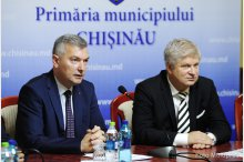 The acting general mayor of Chisinau, Adrian Talmaci, and the mayor of the district 1 from the Bucharest municipality, Daniel Tudorache, hold a news conference '