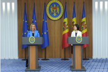 Maia Sandu and Federica Mogherini hold a news conference '