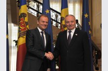 President Nicolae Timofti and President of the European Council Donald Tusk made press statements'